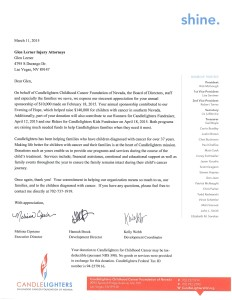 Thank You Letter from Candlelighters Childhood Cancer Foundation