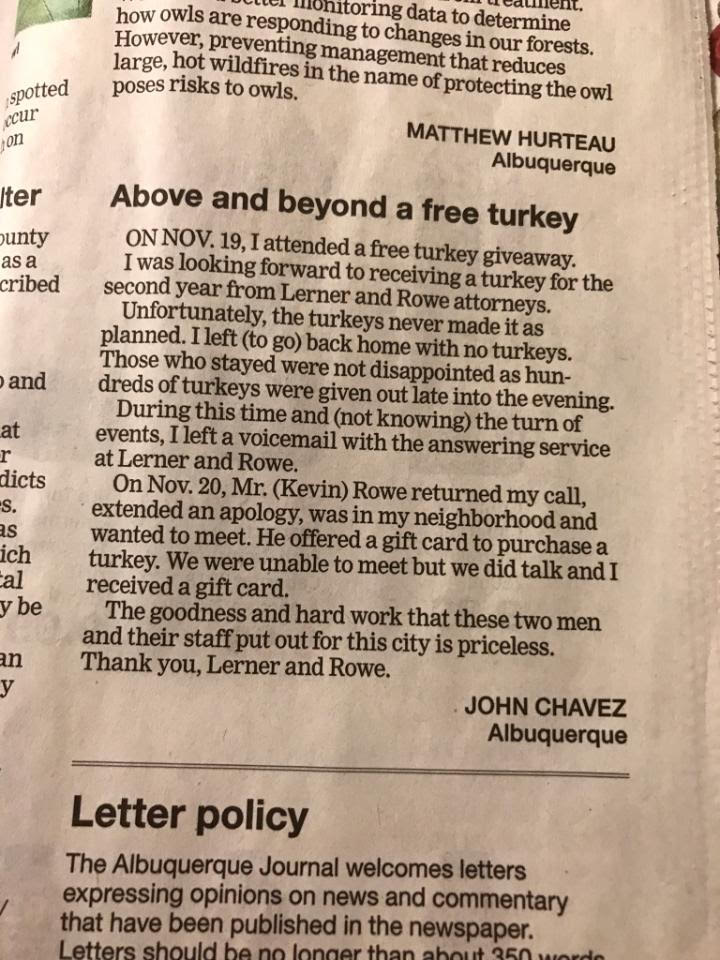 News Clipping - Above and Beyond Free Turkey
