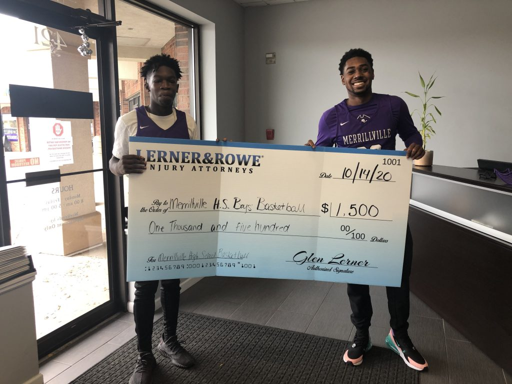 Sponsors of Check presentation of $1,500 to Merrillville High School Boys' Basketball
