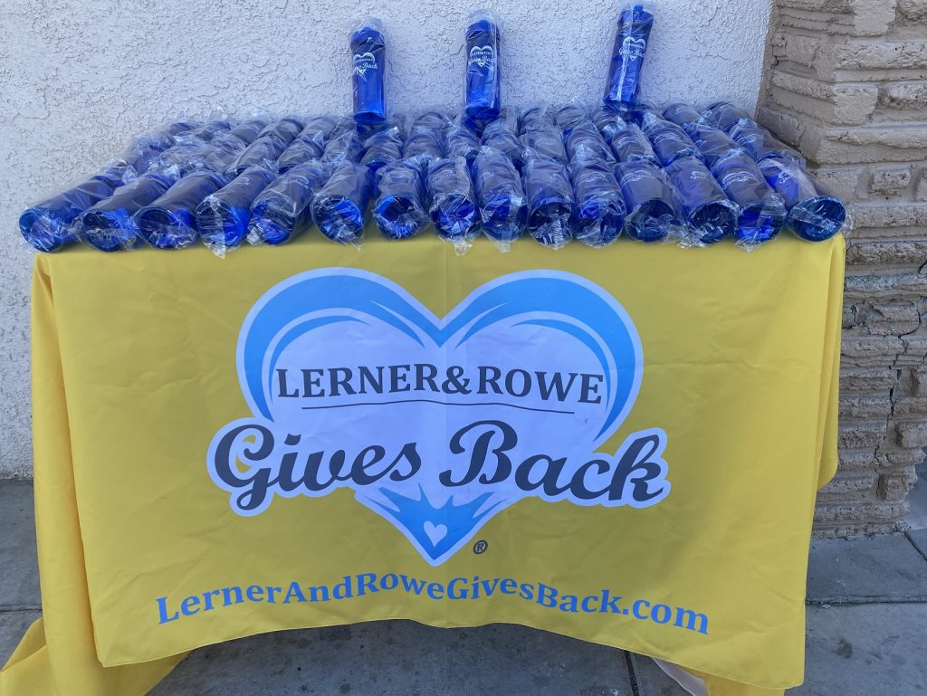 1000 Men for Freedom water bottle donation